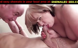 Mature woman and man with one sexy tranny slut